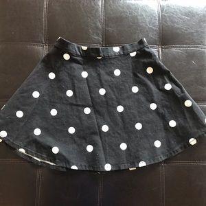 NWT Forever 21 Black Polka Dot Skirt